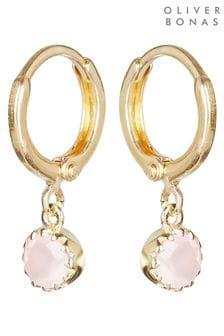 Oliver Bonas Pink Alula Round Quartz Drop Gold Plated Huggie Earrings