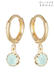 Oliver Bonas Alula Round Blue Chalcedony Drop Gold Plated Huggie Earrings