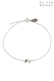Oliver Bonas Silver Tone Origami Butterfly Anklet