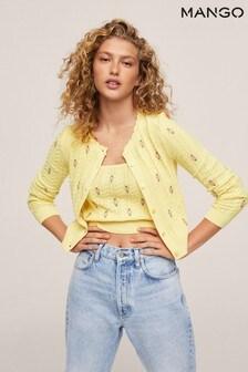 Mango Yellow Flowers Knit Cardigan
