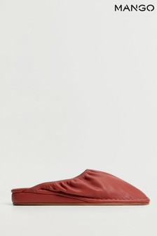 Mango Red Ruched Wedge Shoes