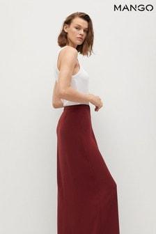 Mango Red Slit Long Skirt