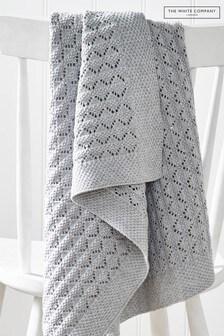 The White Company Heirloom Grey Blanket