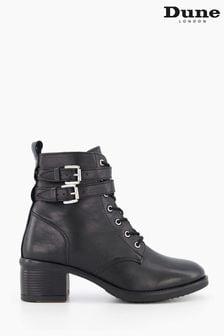 Dune London Black Paxan Buckle Detail Heeled Boots