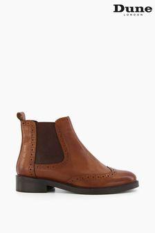 Dune London Brown Quest Brogue Detail Chelsea Boots