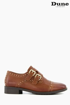 Dune London Brown Flickers Studded Monk Strap Shoes