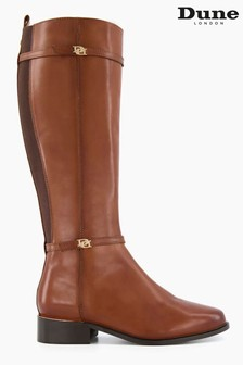 Dune London Brown Tap Buckle Trim High Boots