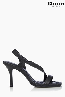 Dune London Black Marbled Square Toe Heeled Slingback Sandals
