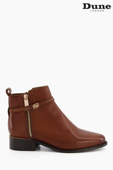 Dune London Brown Pap Buckle Trim Ankle Boots