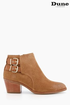 Dune London Brown Pinna Double Buckle Western Boots