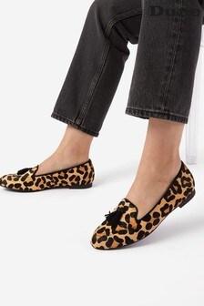 Dune London Leopard Gallerie Almond Toe Tassel Loafers