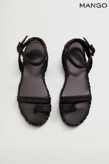 Mango Black Raffia Braided Sandals