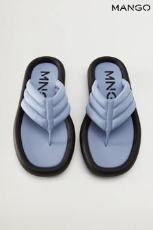 Mango Blue Flatform Quilted Sandals