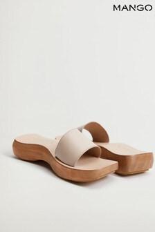Mango Cream Asymmetric Leather Sandals