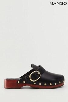 Mango Black Studded Leather Clogs