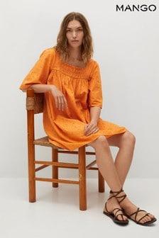 Mango Textured Cotton Blend Dress