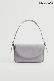 Mango Purple Croc-Effect Baguette Bag