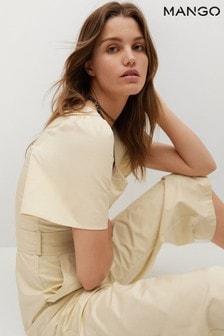 Mango Cream Belted Cotton Jumpsuit