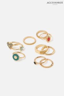 Accessorize Multi Reconnected Enamel Charm Rings