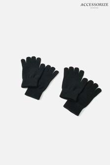 Accessorize Black Stretch Touchscreen Gloves Twin Set