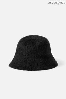 Accessorize Black Fluffy Bucket Hat