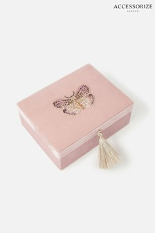 Accessorize Pink Embroidered Butterfly Jewellery Box