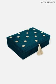 Accessorize Green Large Polka Dot Jewellery Box