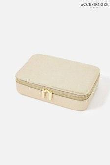 Accessorize Gold Josie Croc Jewellery Box