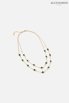 Accessorize Green Reconnected Beaded Multirow Necklace
