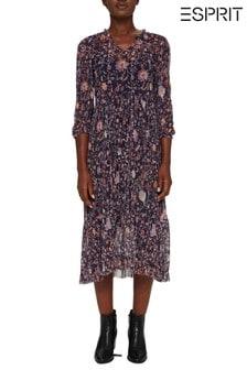 Esprit Womens Pleated Mesh Floral Dress