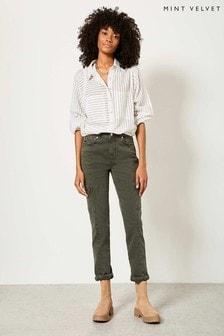 Mint Velvet Green Houston Khaki Slim Zip Jeans