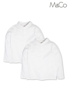 M&Co White Polo Shirts 2 Pack