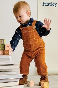 Hatley Brown Pecan Brown Baby Corduroy Overalls