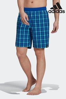 adidas Blue Classic Length Check Swim Shorts