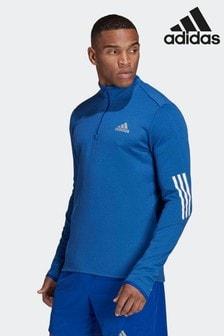 adidas Blue Quarter Zip Long Sleeve Top