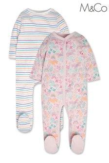 M&Co Pink Unicorn Sleepsuit 2 Pack