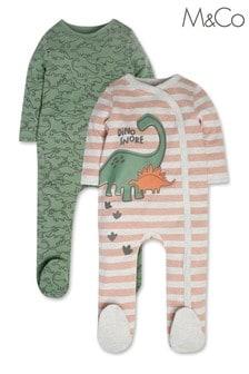 M&Co Green Dinosaur Sleepsuits 2 Pack