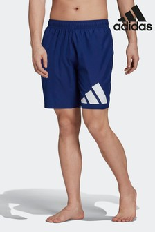 adidas Blue Classic Length Logo Swim Shorts