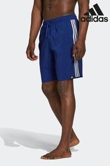 adidas Blue Classic Length 3-Stripes Swim Shorts