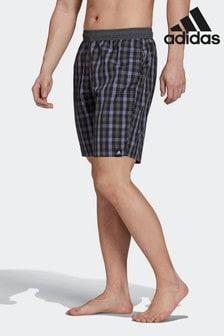 adidas Black Classic Length Check Swim Shorts