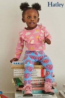 Hatley Blue Twisty Rainbow Hearts Baby Leggings