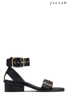 Jigsaw Black Oxley Leather Heeled Sandals