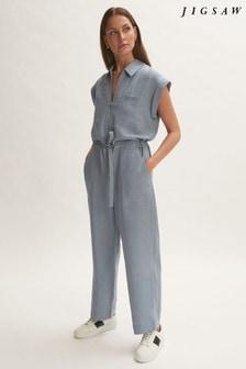 Jigsaw Blue Linen Utility Jumpsuit