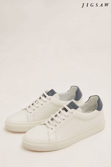 Jigsaw White Miah Lace Up Leather Trainer