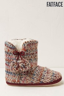 FatFace Red Carrie Textured Knit Slipper Boots