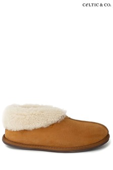 Celtic & Co. Mens Brown Sheepskin Bootee Slippers