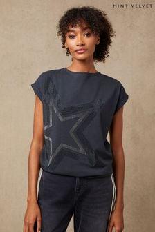 Mint Velvet Grey Studded Star T-Shirt