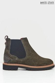 White Stuff Green Alpine Suede Chelsea Boots