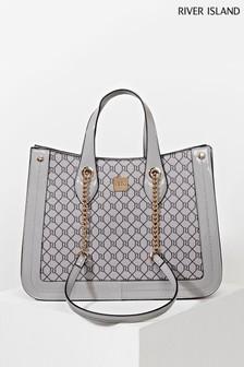 River Island Grey Chain Handle Shopper Bag