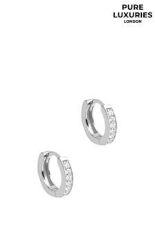Pure Luxuries London Alison Rhodium Plated Silver Hoop Earrings